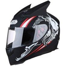 Nouveau cornes moto casque casque intégral personnalisé moto cross-country anti-brouillard revêtement full formule saisons