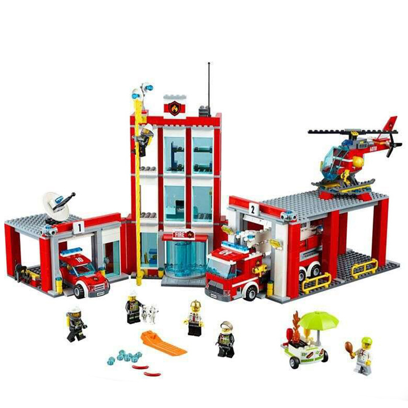 City Fire Station 02052 1029 pcs/set Building Blocks DIY Educational Bricks Kids Toys compatible with legoe Best Kids Xmas Gift mylb new city fire station 774pcs set building blocks diy educational bricks kids toys compatible with legoe best kids xmas gift