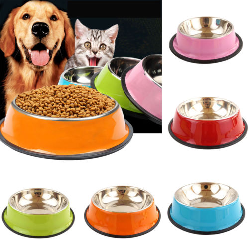 Multi-Color Pets Dog Cat Puppy Anti Skid Stainless Steel Travel Feeding Food Water Bowl Dish