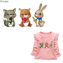 Prajna Rabbit Patch Applique Cartoon Set Patches Cat Bear Unicorn Iron-on Transfers For Baby Clothing DIY T-shirt Sticker Jeans(China)