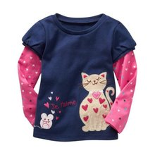 Baby Girl Floral Print TShirts Kids Cotton Patchwork Pullover Tees Tops Long Sleeve Clothing