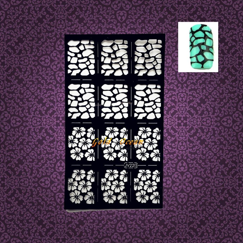 ̿̿̿(•̪ )1PC Health Women Nail Art Stencil Plum Flower Leopard Print ...