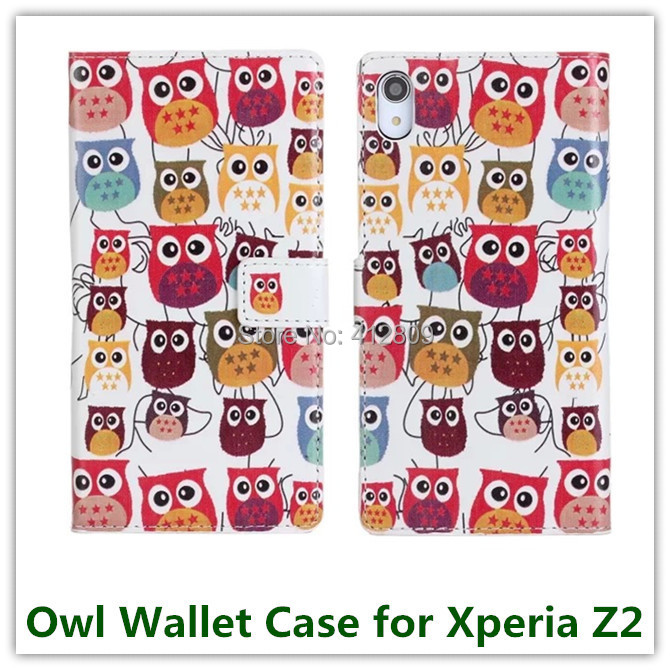 Fashion Sleep Owl Elephant Nature Prinetd Animas Style PU Leather Pouch Wallet Covers for Sony Xperia Z2 D6503 with ID Card Free