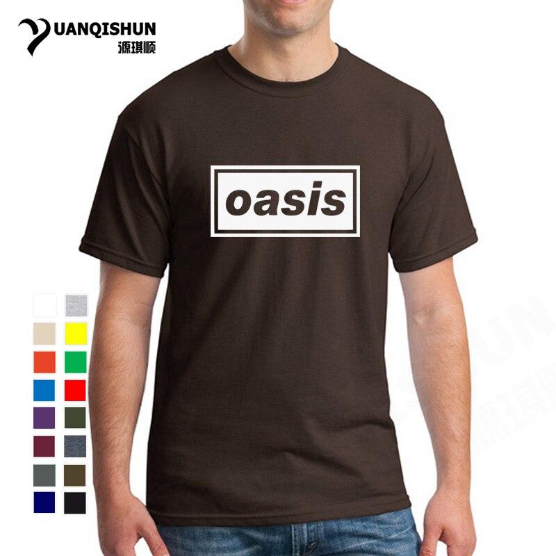 dbfa9dd3c Camiseta de alta calidad de 16 colores de moda con estampado de Oasis para  hombre cuello redondo de manga corta de algodón Rock hombres camiseta ...