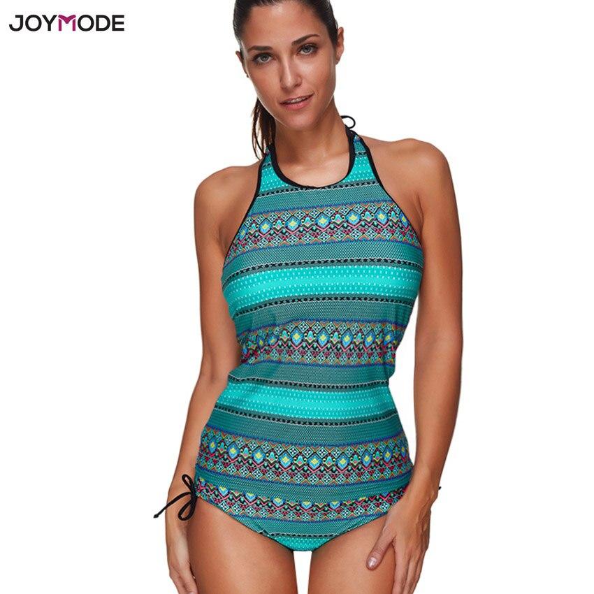 JOYMODE 2018 Women Swimsuit Print Tankini Halter Bathing Suit Two Piece Sexy Bikini Low Waist Green Print Sport Beach Wear Suit