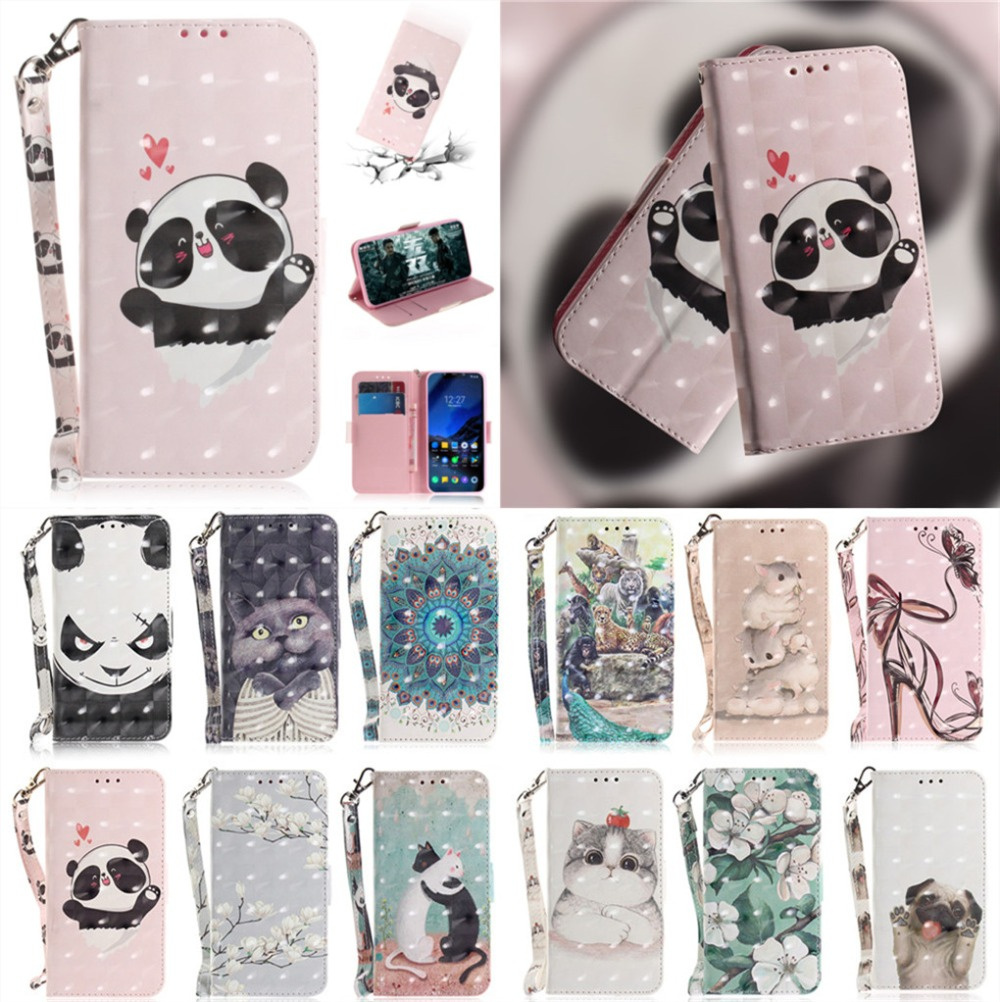 Lovely Flip CASE For Nokia 5.1 Plus Case Cute Cartoon Printed PU Leather Wallet Stand Cover NOKIA 5.1 PLUS nokia 5.1 panda case