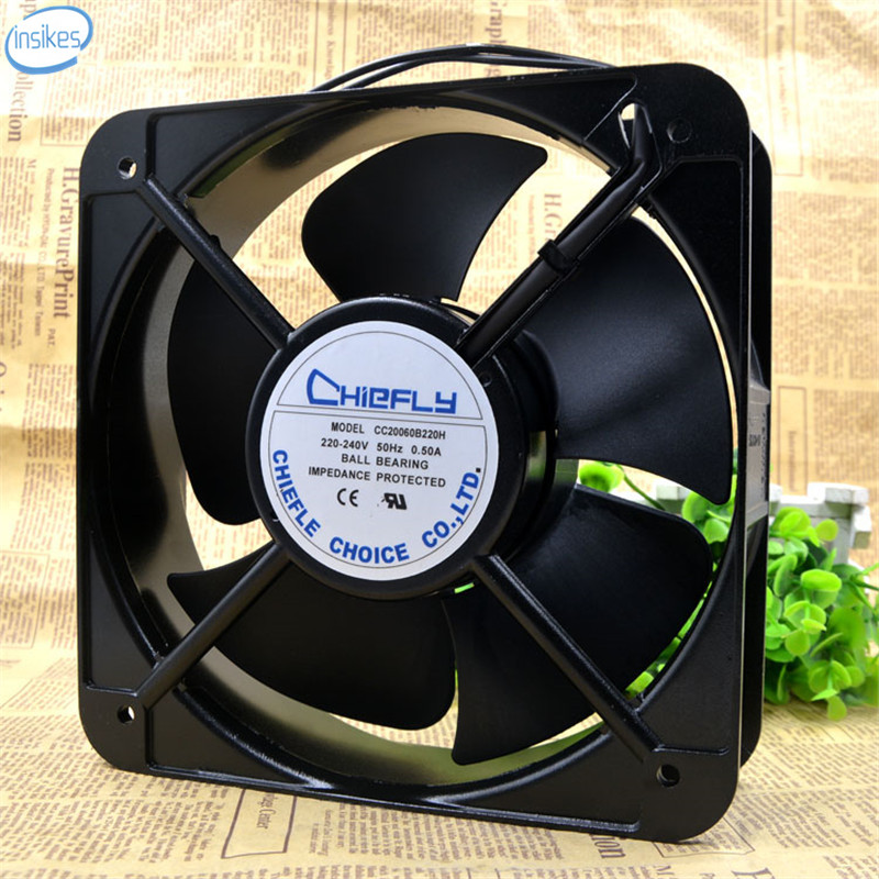 CC20060B220H Welding Cabinet Exhaust Cooling Fan AC 220V 0.5A 58/65W 2600RPM 200*200*60mm 20CM 50/60HZ 2 Wires