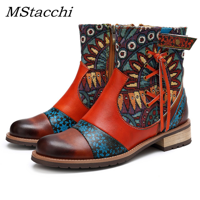 MStacchi Cross Tied Vintage 2019 New Genuine Leather Ankle Boots Women Fashion Ladies Shoes Woman Flower Print Bohemia Booties-in Ankle Boots from Shoes    1