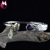 Water Drop Amethyst Vintage Feather Fine Bird Natural Stone Crystal Tassel Jade Bangle For Women Thai Silver Opening Bracelet