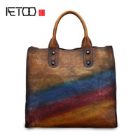 AETOO Handbags Women's leather bag retro handbag hit color leather shopping bag shoulder diagonal bag wave tote bag
