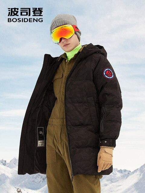 BOSIDENG новый 90% белый куртка на гусином пуху с капюшоном гусиный пух пальто для мужчин утолщаются легкая одежда водонепроница высокое качество B80142145