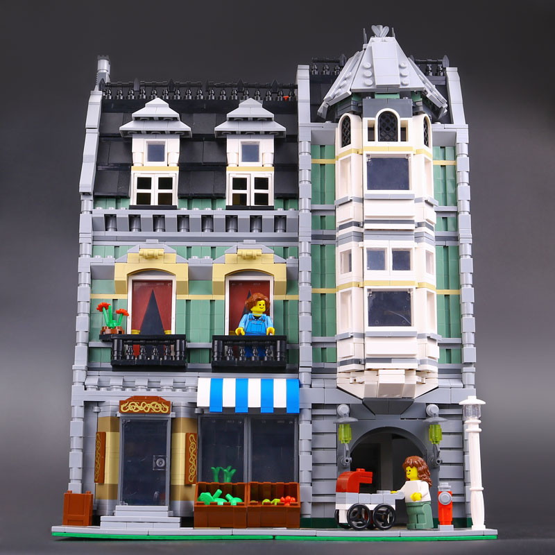 DHL <font><b>15008</b></font> 2462Pcs City Street Green <font><b>Grocer</b></font> Model Building Blocks Bricks Children Toy compatible with 10185 Toys House Model image