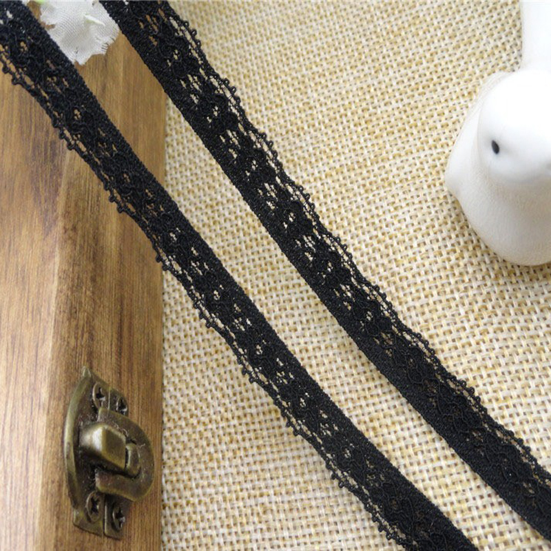 (40 yards/lot) spandex Elastic knitted black sewing diy lace trimming fabric 0.8cm wide for underwear high quality