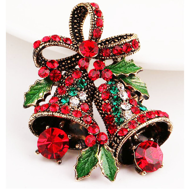 Lovely Two Bow Bells Brooches For Women Christmas Suit Pins Vintage Creative Gift Jewelry Coat Dress Accessories