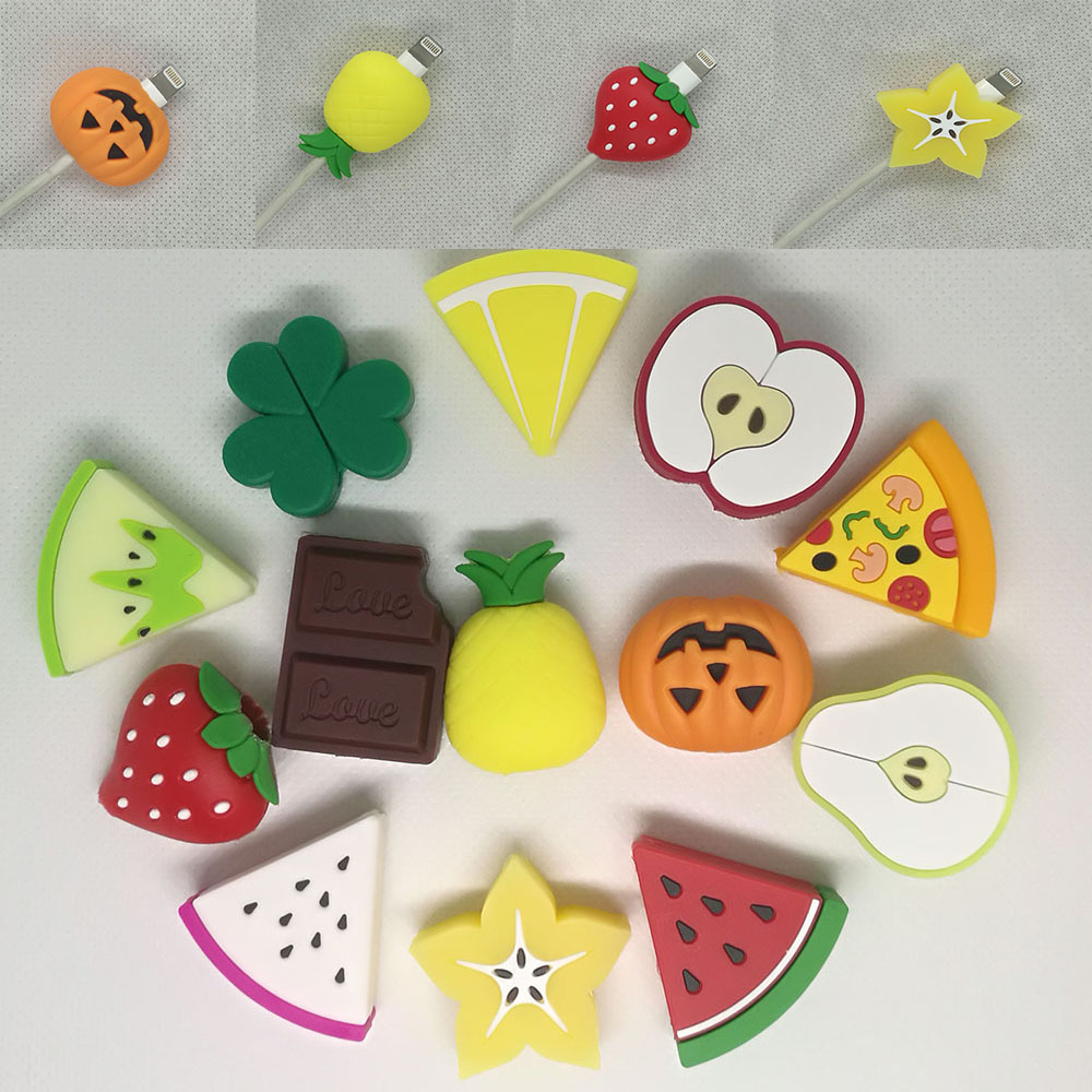 1Pcs Cute Fruit Cable Protector Cord Wire Lemon Watermelon Strawberry Protection Cover Charging Cable Winder For Iphone Cable