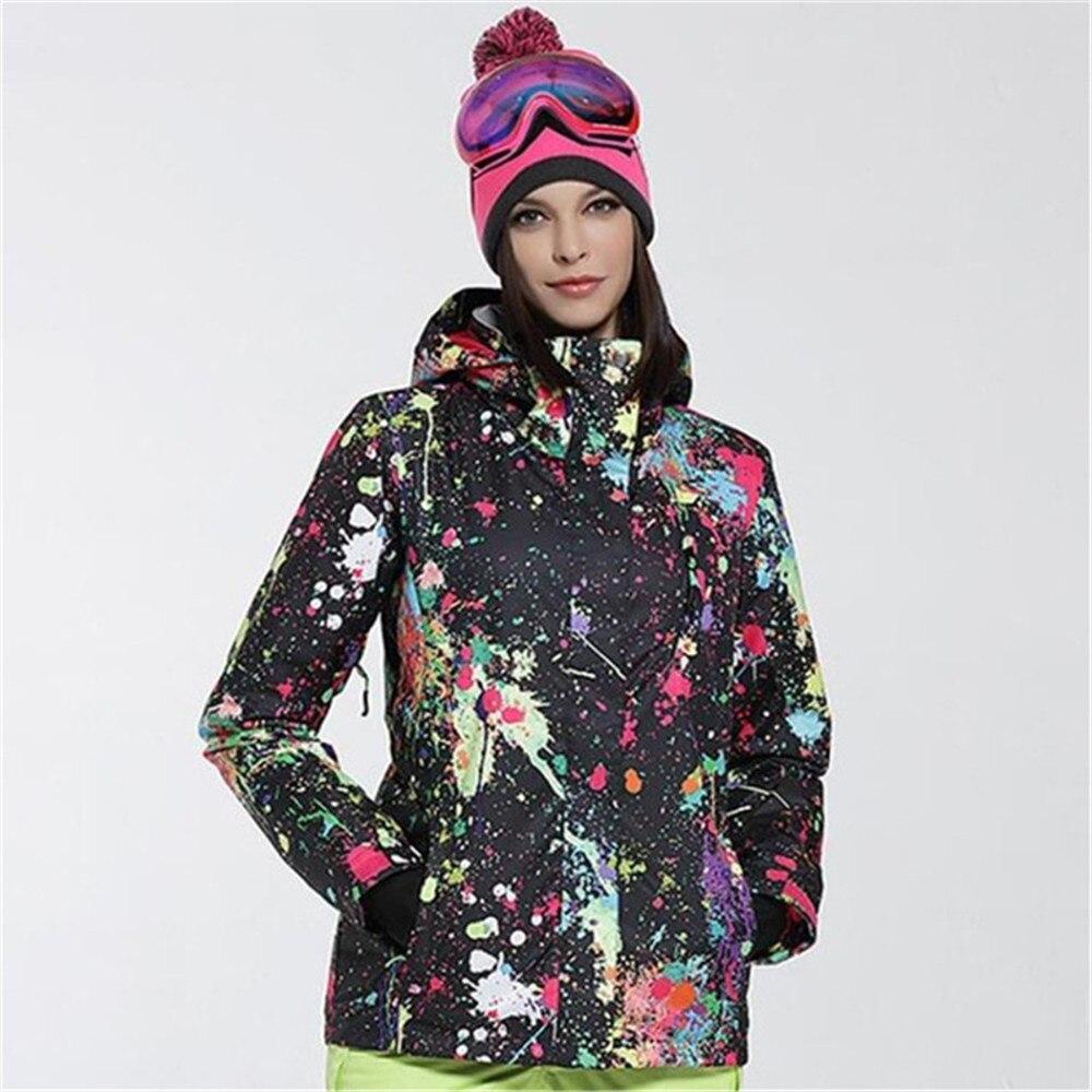 GSOU neige extérieur hiver veste de Snowboard femme garder au chaud veste de Ski Splash ink combinaison de ski femme imperméable coupe-vent manteau de neige