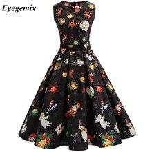 New Arrival 2018 Autumn Fashion Elegant Plus Size Women Clothing Casual  Christmas Print Dresses A- b64e9f7d27f1