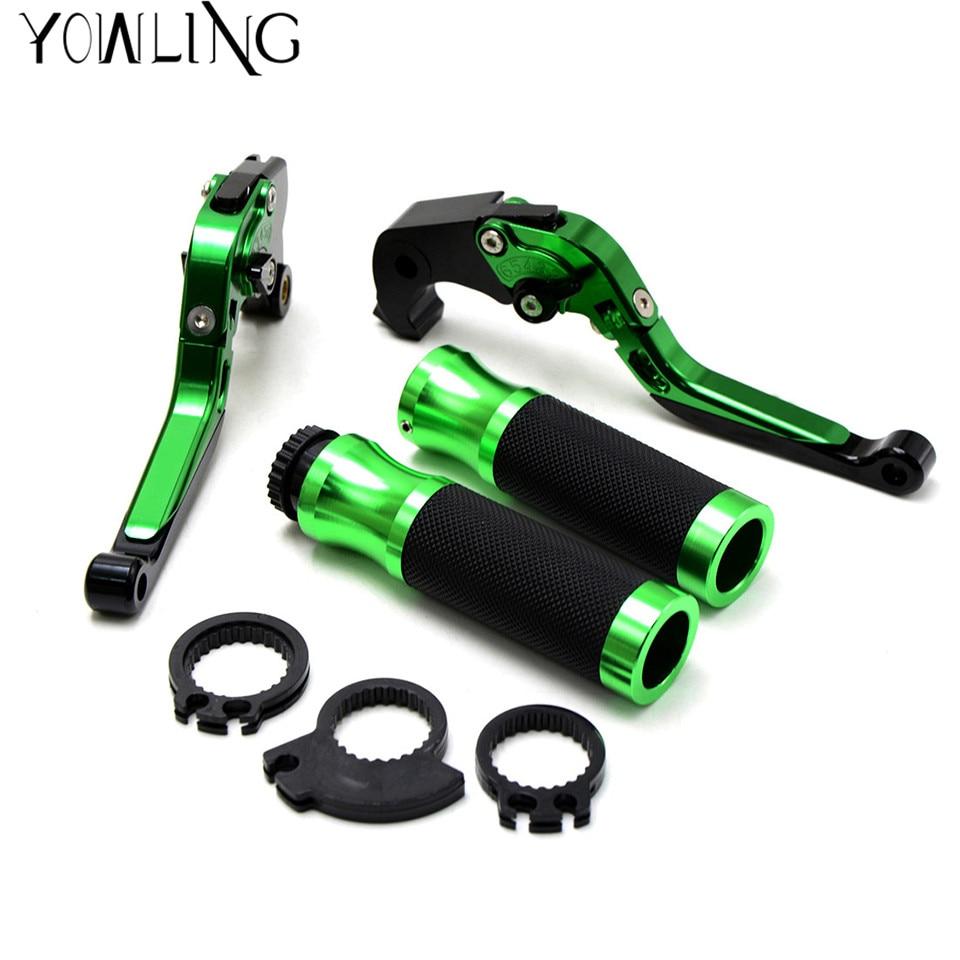 green motorcycle handle bar grips 22MM levers brake clutch  For Kawasaki Z800 2013 2014 Z750 2007 2008 2009 210 2011 2012