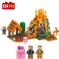 234 SZTUK Kopalni Świata Wulkaniczne Wioska Kompatybilny Legoed Minecrafted Figury Miecz Zestaw Enlighten Building Blocks Zabawki Dla Dzieci