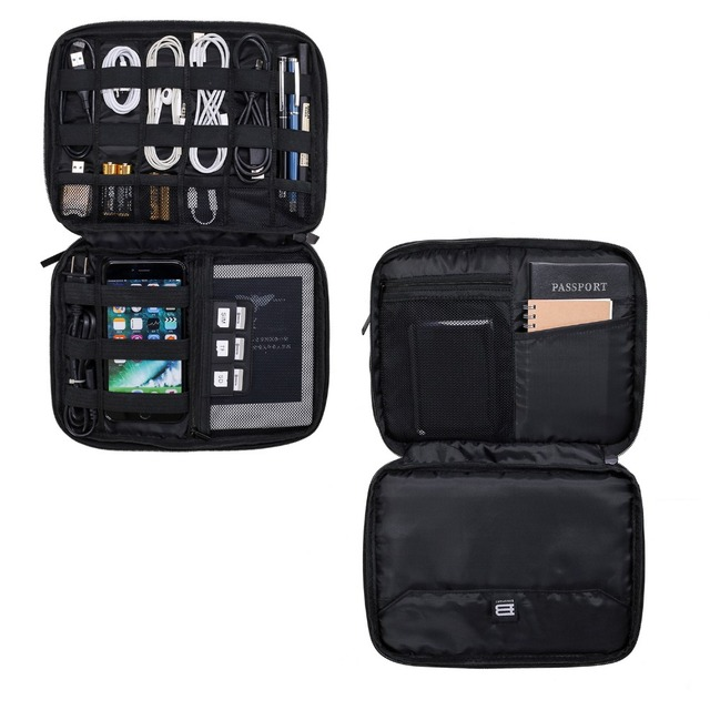 Bagsmart Double Layer Travel Gear Organizers for Cable Kindle Phone Charger Case Large Capacity Electronics Accessories Bag
