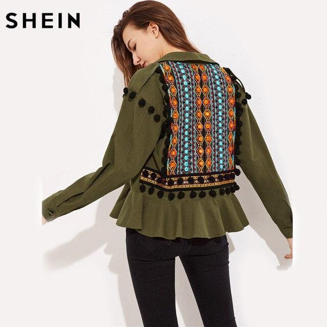Шеин Вышивка жаккард назад помпонами ASOS оборками Куртка Зеленый нагрудные Однобортный Повседневное верхняя одежда с длинными рукавами
