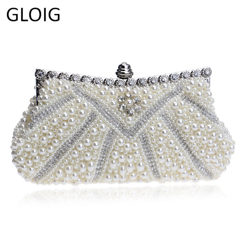 GLOIG Clutches Handbags Chain Beaded Evening-Dress-Bag Rhinestones Wedding Women  title=
