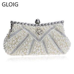 Image 1 - GLOIG boncuklu kadınlar akşam çanta Rhinestones manşonlar çanta için zincir ile düğün gelin manşonlar gece elbisesi için çanta