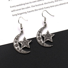 New Thai silver moon stars earrings womens fashion jewelry star exaggerated gift party wedding