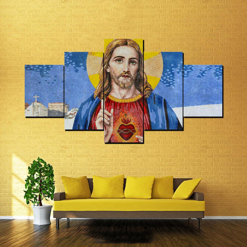 Home Decor HD Printed Modern Canvas 5 Panel Sacred Heart Of Jesus ...