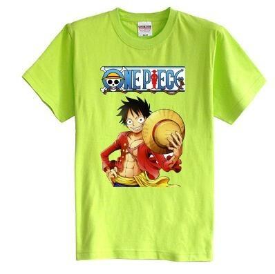 Los niños de la camiseta del verano de manga corta 100% algodón de la muchacha y del muchacho los niños camisetas Piratas Luffy