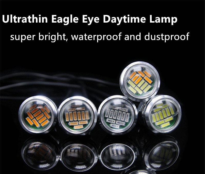Car-styling 2PC 23mm High Brightness 4014 DRL Eagle Eye Daytime Running Light LED Car Work Lights Source Waterproof Parking Lamp