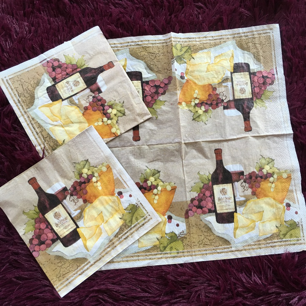 Napkin Tissue Vintage Fruit Grape Wine Cheese Handerchief