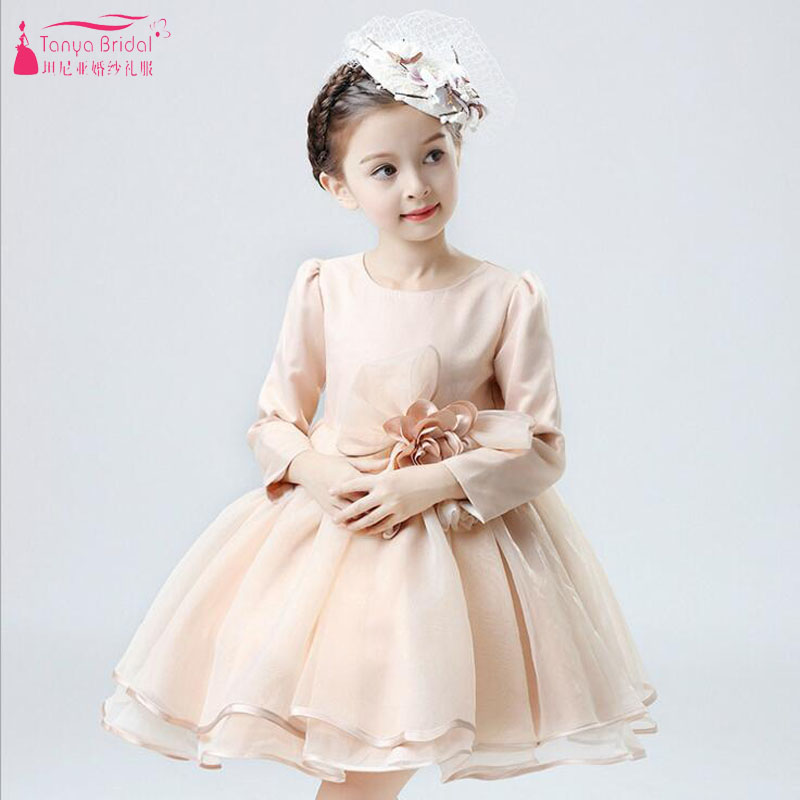 Flower     Girls     Dresses   For wedding 2018 Champagne Half Sleeve Little   Girl   Pageant Gowns Vestido De Festa In Stock Cheap ZF065