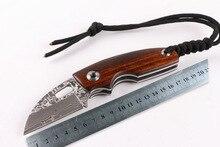 SHANGXIN FEN Damascus Knife Hunting Knife Survival Knives Wood Handle Hardness 60HRC