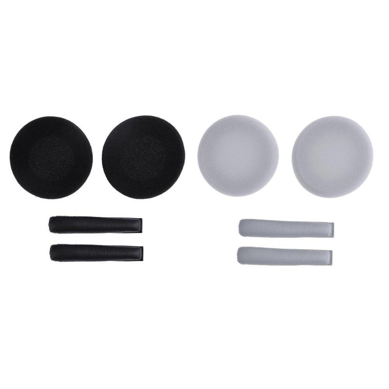 Alloyseed 1 Pair Replacement Earpads With Headband Cushions Black/White For Sennheiser PX100 PX200 PX80 Headphones Headsets