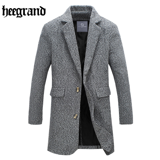 HEE GRAND 2017 New Style Men Short Coat Long Sleeve Solid Color Half Waist Casual Overcoat Male Wool Blend MWN222