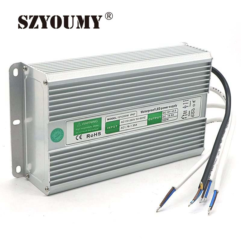 SZYOUMY AC 110-260 V à DC 12 V 200 W 250 W étanche IP67 pilote électronique en plein air LED d'alimentation transformateur adaptateur de bande