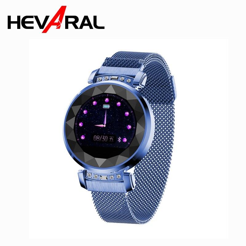 HEVARAL montre intelligente cadeau pour filles 3D diamant verre Calories fréquence cardiaque pression artérielle moniteur de sommeil montre étanche pour les femmes