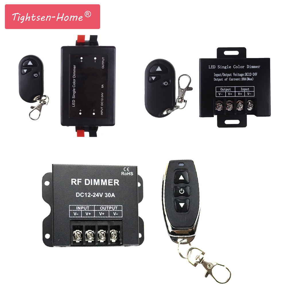 1CH LED Dimmer DC12V 24V 8A 20A 30A 3Key LED Single Color Dimmers Controller with RF Wireless Remote for Single Color LED Strip wireless led single color dimmer w remote controller dc 12 24v