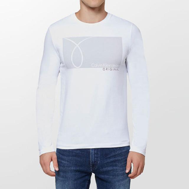 Calvin Klein Jeans / CK 2017 Autumn Winter Men's Long Sleeve T-Shirt Men Slim O-Neck Simple Cotton Primer Shirt Casual Tops Tees