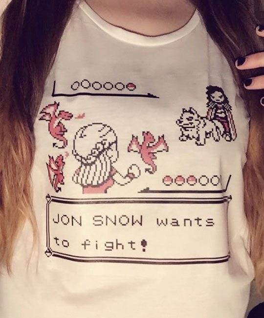 Summer New Fashion Jon Snow Wants To Fight Game of Thrones Funny T-Shirt Cute Cartoon Anime Cool White T-shirt Graphic Tees