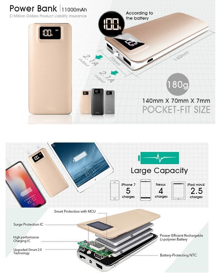 DSstyles 11000mAh External <font><b>Battery</b></font> Charger Power Bank with Safety Charging Conversion System Ultra Slim for <font><b>iPhone</b></font> iPad Samsung image
