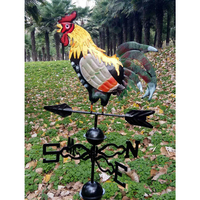 Decor Wind Direction Iron Structure Colorful Retro Durable Craft Yard Easy Use Garden Rooster Design Weather Vane Professional