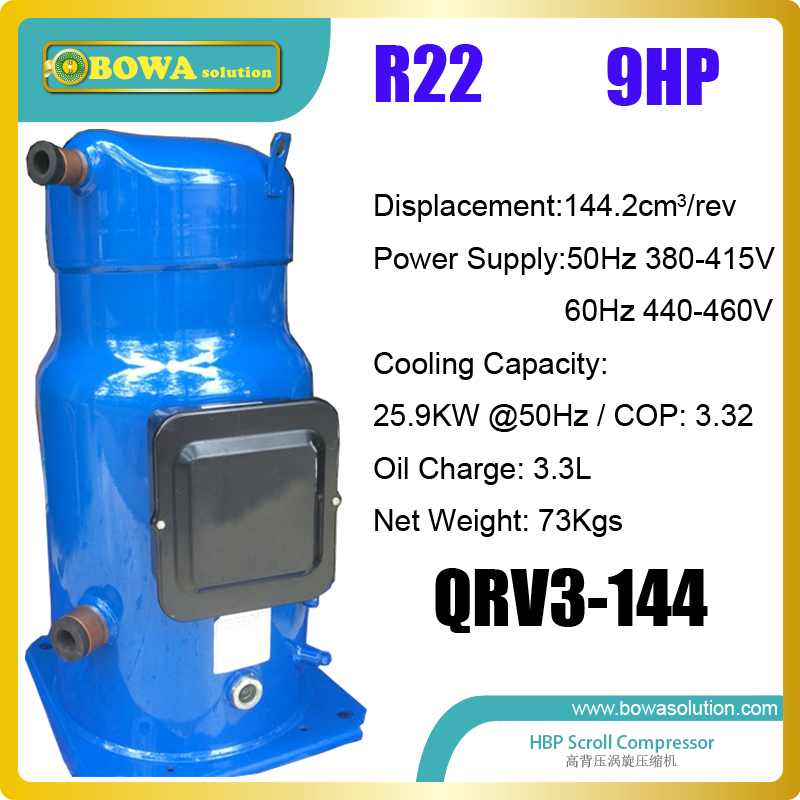 9HP coolant scroll compressor is installed into geothermal heat pump water heater and air conditioner for heating and hot water 3phase 10hp r407c compressor 36 8kw heating capacity specially designed for hotel and resturant water heater