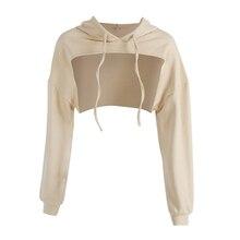 цена на Hoodies Women Hollow Out Long Sleeve Hoodie Pullover Sweatshirt Casual Hooded Summer Short Tops