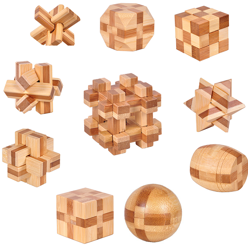 10pcs/set Children 3D IQ Puzzle Kong Ming lock Luban lock Bamboo toys For adults Kids puzzle