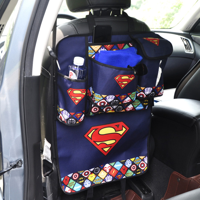 Cartoon Car Seat Back Organizer Phone Tissue Book Water Storage Bag Backseat Protector Bags For Kids