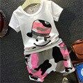 Chicas lindas Del Bebé de Dibujos Animados T Shirt Tank Tops Tee Verano Pantalones cortos Conjuntos Niño Harén Pantalones Causales Cabritos Que Arropan Sistemas 2-7 T