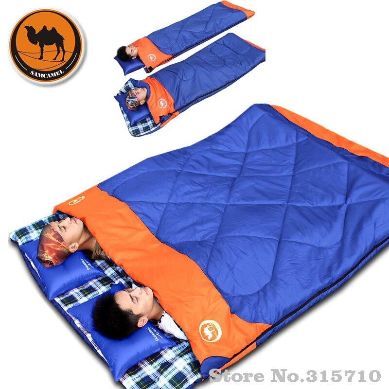 屋外ダブル寝袋封筒春と秋のキャンプハイキングポータブル寝袋充填 cottom カップルのための  グループ上の スポーツ & エンターテイメント からの 寝袋 の中 1
