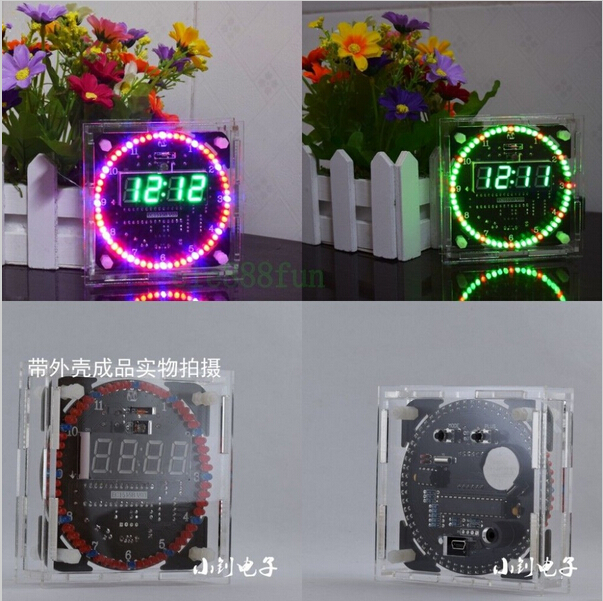 Rotating LED Electronic Temperature DS1302 Display Digital Clock DIY Kit Box